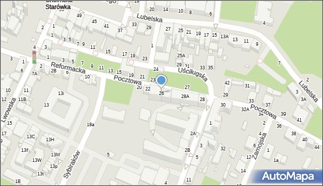 Chełm, Pocztowa, 26, mapa Chełma