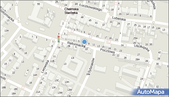 Chełm, Pocztowa, 8, mapa Chełma