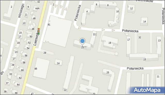 Chełm, Połaniecka, 23, mapa Chełma