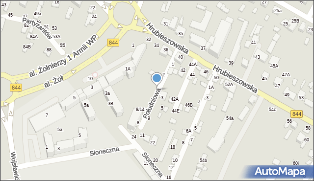 Chełm, Południowa, 4, mapa Chełma