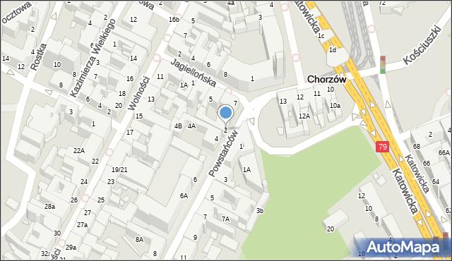 Chorzów, Powstańców, 2, mapa Chorzów