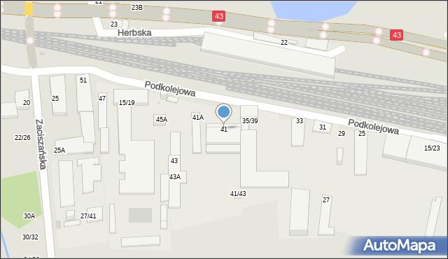 Częstochowa, Podkolejowa, 41, mapa Częstochowy