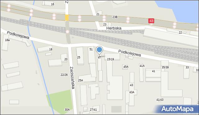 Częstochowa, Podkolejowa, 47, mapa Częstochowy