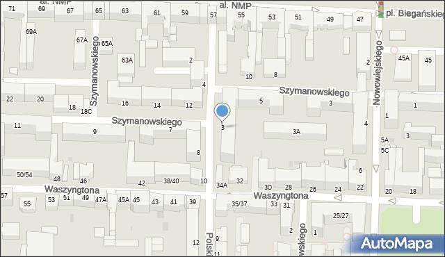 Częstochowa, Polskiej Organizacji Wojskowej, 3, mapa Częstochowy