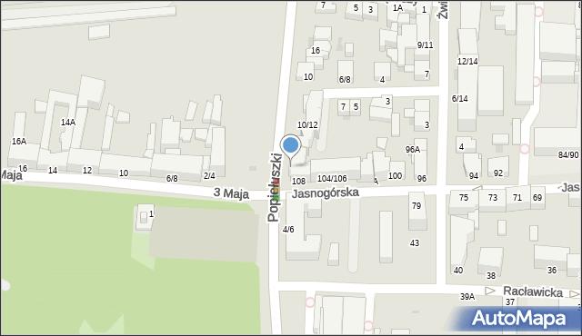Częstochowa, Popiełuszki Jerzego, bł. ks., 8, mapa Częstochowy