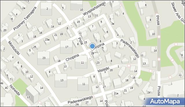 Gdynia, Pola Wincentego, 19, mapa Gdyni