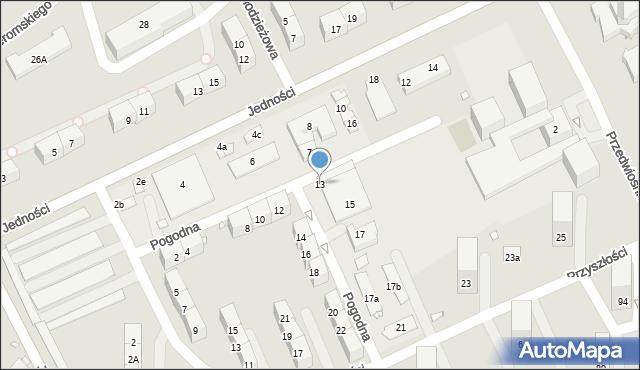 Gliwice, Pogodna, 13, mapa Gliwic