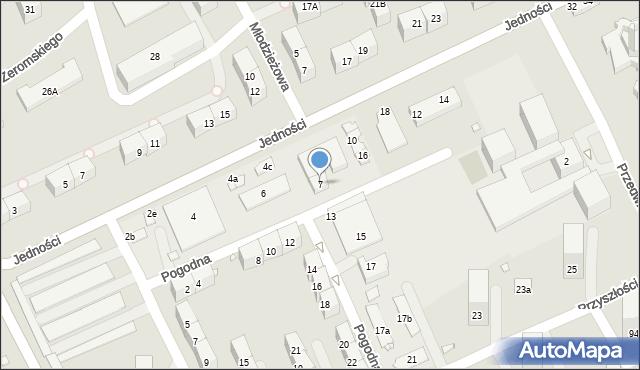 Gliwice, Pogodna, 7, mapa Gliwic
