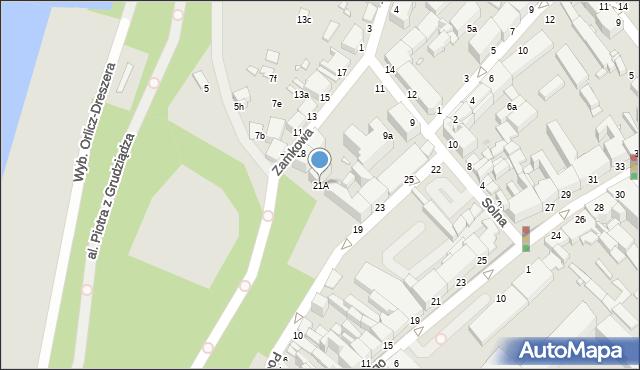 Grudziądz, Podgórna, 21A, mapa Grudziądza