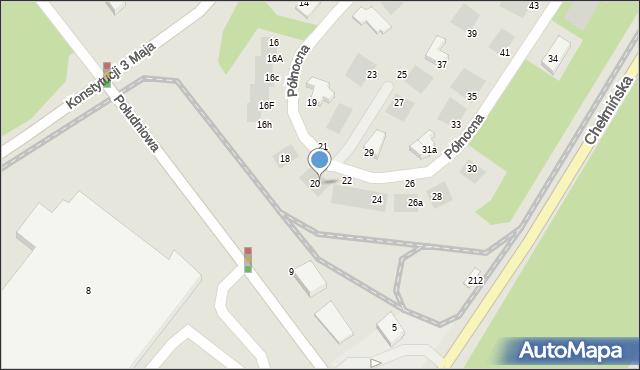 Grudziądz, Północna, 20a, mapa Grudziądza