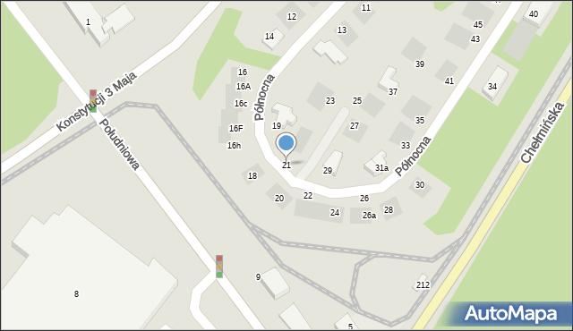 Grudziądz, Północna, 21, mapa Grudziądza