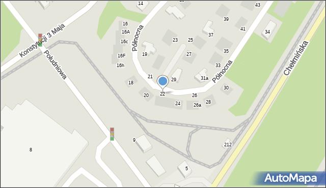 Grudziądz, Północna, 22, mapa Grudziądza