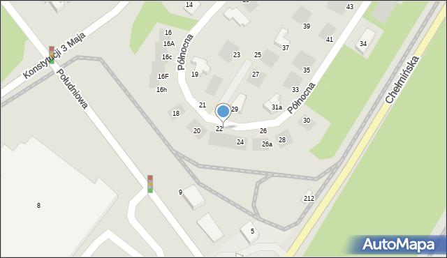 Grudziądz, Północna, 22a, mapa Grudziądza