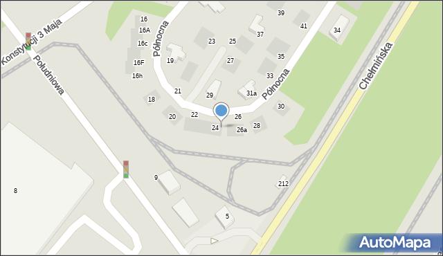 Grudziądz, Północna, 24a, mapa Grudziądza