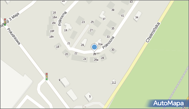 Grudziądz, Północna, 26, mapa Grudziądza