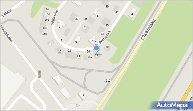 Grudziądz, Północna, 28, mapa Grudziądza