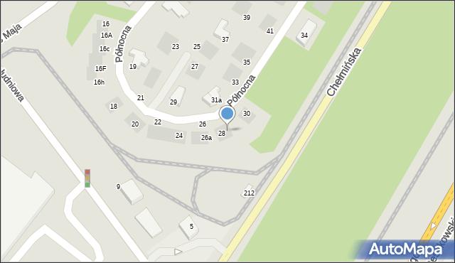 Grudziądz, Północna, 28a, mapa Grudziądza