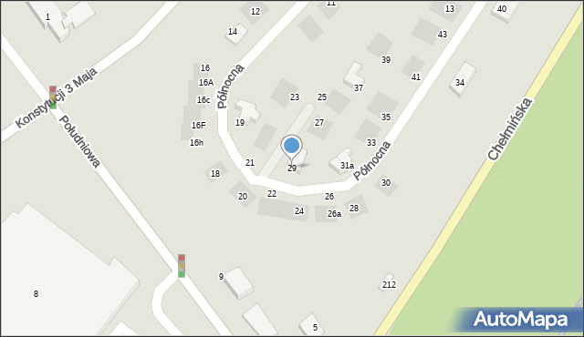 Grudziądz, Północna, 29, mapa Grudziądza