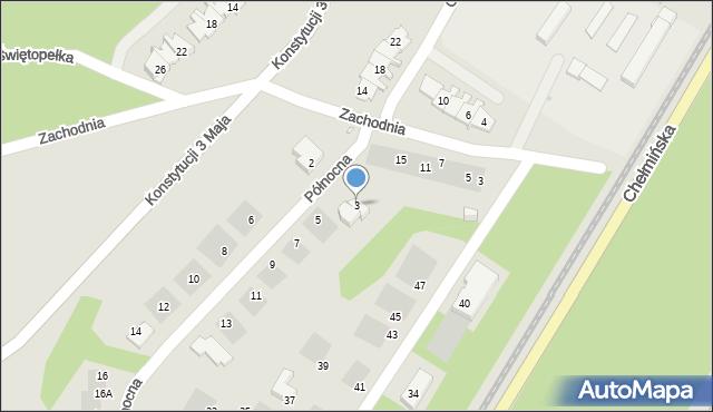 Grudziądz, Północna, 3, mapa Grudziądza