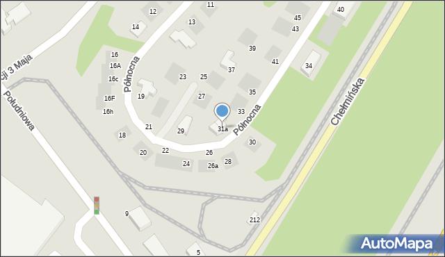 Grudziądz, Północna, 31a, mapa Grudziądza
