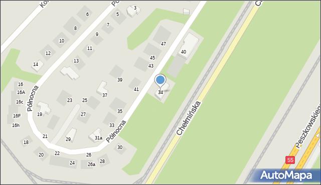 Grudziądz, Północna, 34, mapa Grudziądza