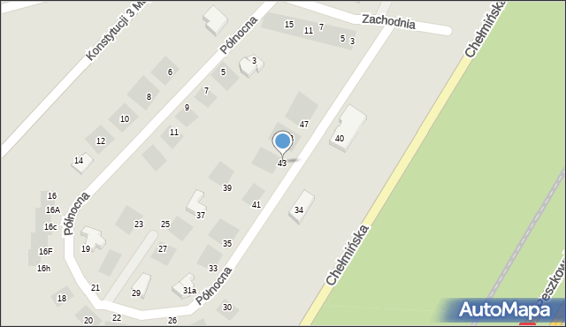 Grudziądz, Północna, 43, mapa Grudziądza