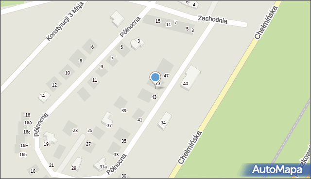 Grudziądz, Północna, 45, mapa Grudziądza