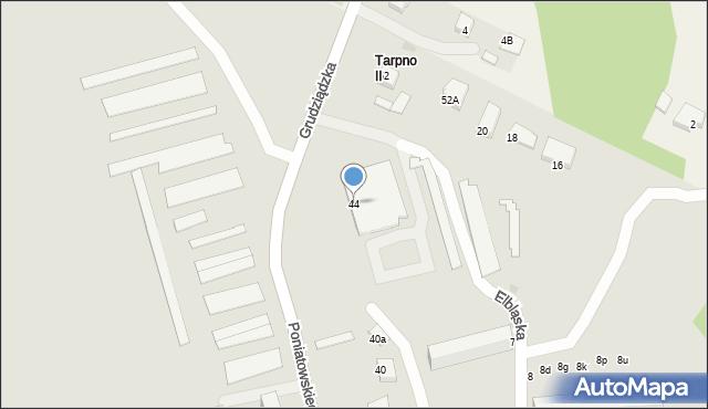 Grudziądz, Poniatowskiego, 44, mapa Grudziądza