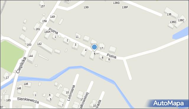 Jelenia Góra, Polna, 5, mapa Jelenia Góra