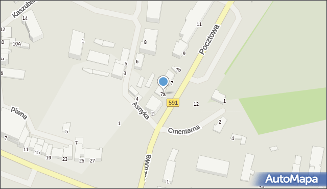 Kętrzyn, Pocztowa, 7a, mapa Kętrzyn