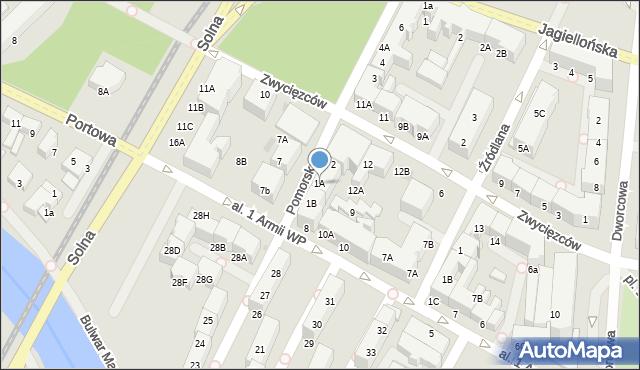 Kołobrzeg, Pomorska, 1A, mapa Kołobrzegu