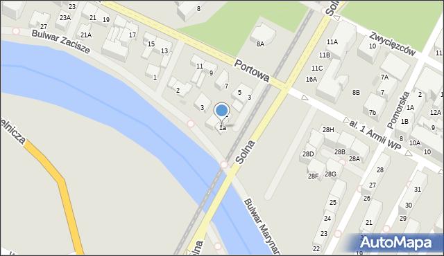 Kołobrzeg, Portowa, 1a, mapa Kołobrzegu