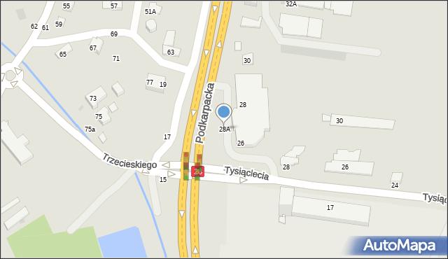 Krosno, Podkarpacka, 28A, mapa Krosna