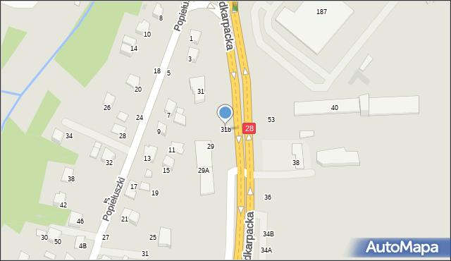 Krosno, Podkarpacka, 31b, mapa Krosna