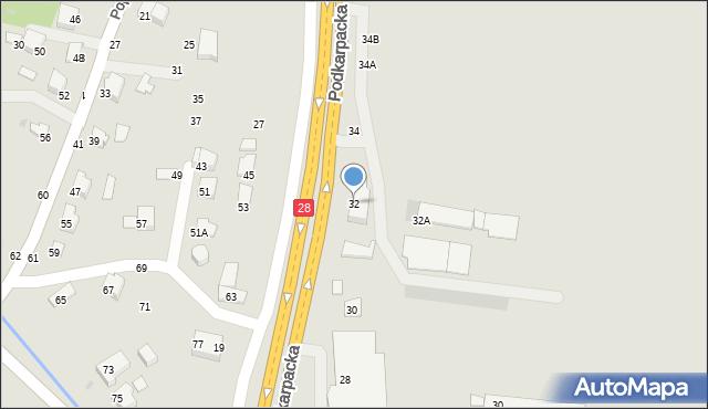 Krosno, Podkarpacka, 32, mapa Krosna