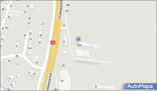 Krosno, Podkarpacka, 32A, mapa Krosna