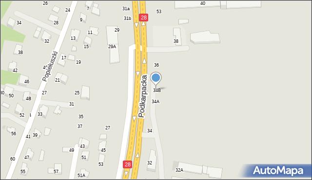 Krosno, Podkarpacka, 34B, mapa Krosna