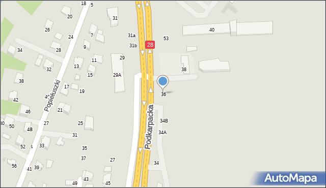 Krosno, Podkarpacka, 36, mapa Krosna