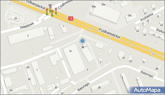 Krosno, Podkarpacka, 3B, mapa Krosna