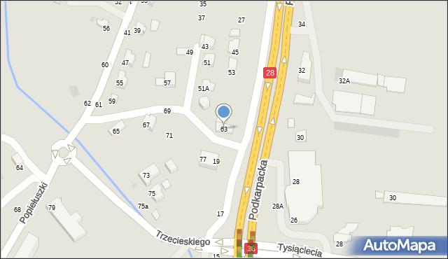 Krosno, Popiełuszki Jerzego, bł. ks., 63, mapa Krosna