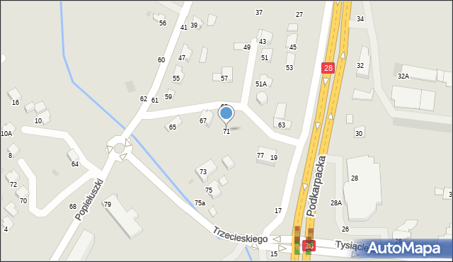 Krosno, Popiełuszki Jerzego, bł. ks., 71, mapa Krosna
