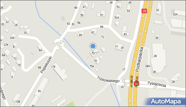Krosno, Popiełuszki Jerzego, bł. ks., 73, mapa Krosna