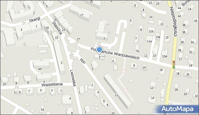 Krosno, Powstańców Warszawskich, 2, mapa Krosna