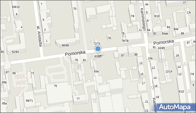 Łódź, Pomorska, 83/85, mapa Łodzi
