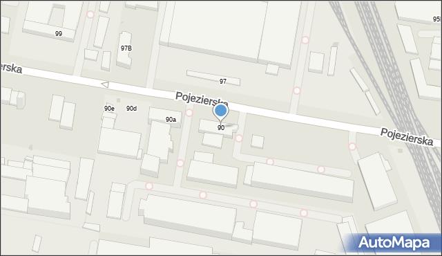 Łódź, Pojezierska, 90, mapa Łodzi