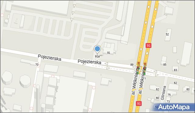 Łódź, Pojezierska, 91a, mapa Łodzi