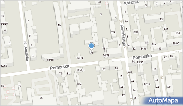 Łódź, Pomorska, 76, mapa Łodzi