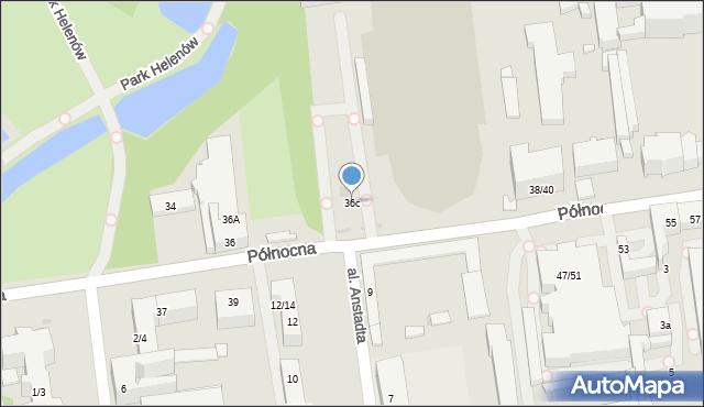 Łódź, Północna, 36c, mapa Łodzi