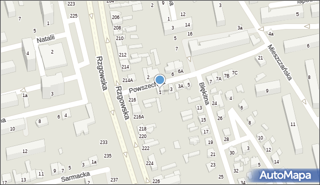 Łódź, Powszechna, 1, mapa Łodzi