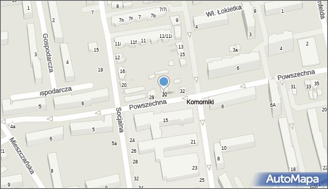 Łódź, Powszechna, 30, mapa Łodzi